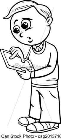 Black And White Elementary School Clipart Vector   Grade School Boy