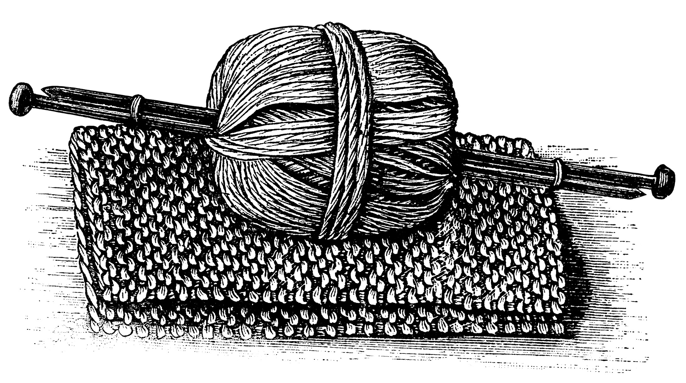 Black And White Graphics Vintage Knitting Clipart Ball Of Yarn