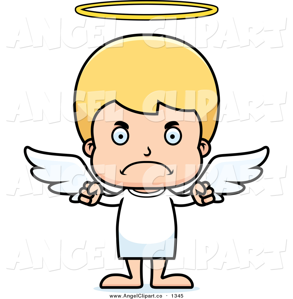 Cartoon Angry Blond Caucasian Boy Angel Blond White Angel Christmas
