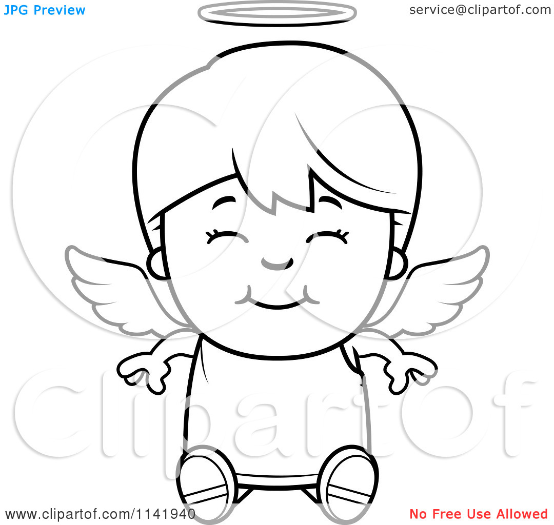 Cartoon Clipart Of A Black And White Smiling Sitting Angel Boy