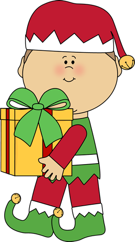 Christmas Elf Carrying A Christmas Gift Clip Art   Christmas Elf