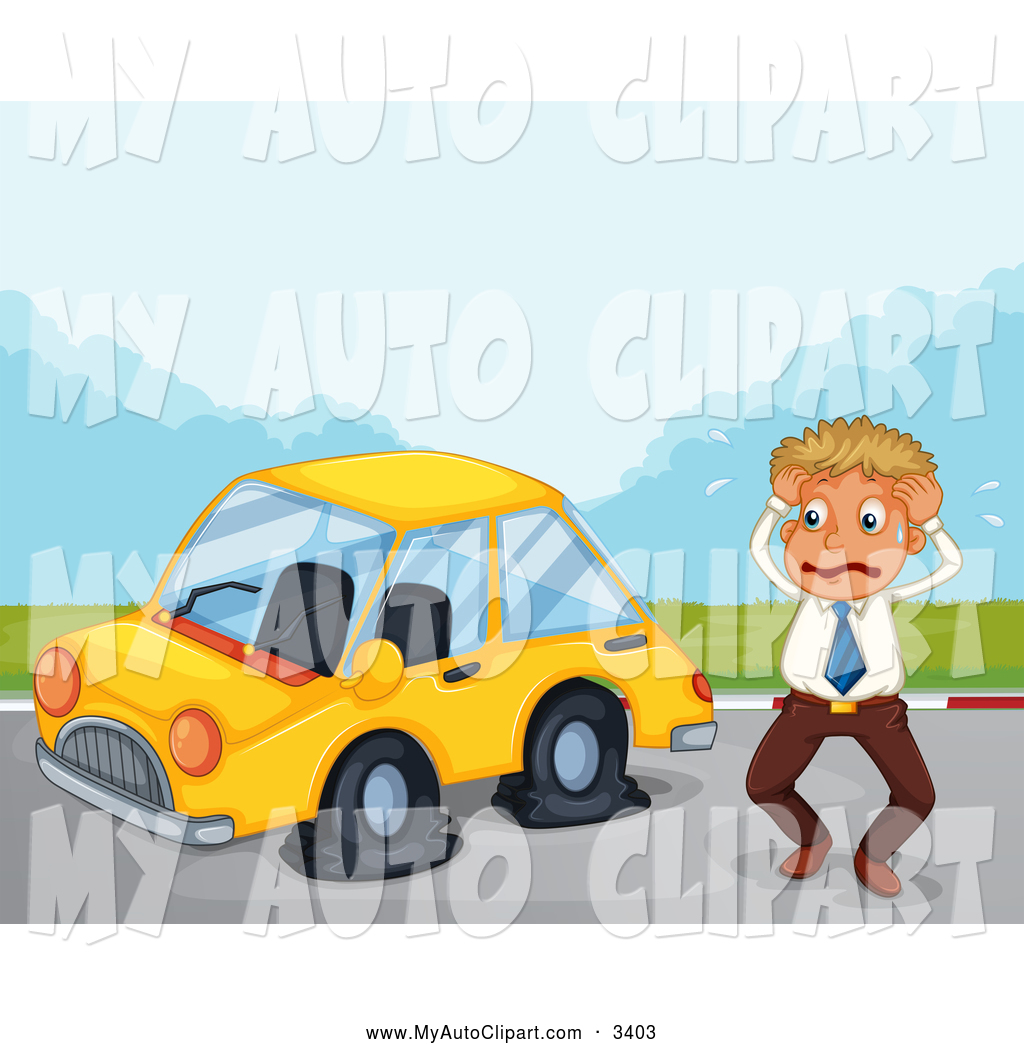 Clip Art Of A Stressed Man By A Car With A Flat Tire By Colematt