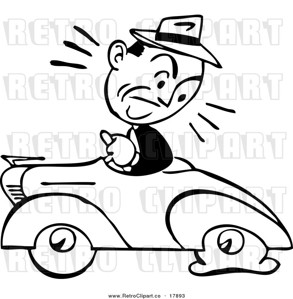 Clipart Of A Black And White Retro Guy Driving A Car With A Flat Tire
