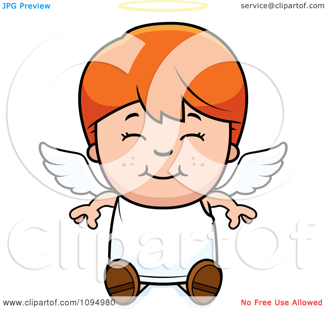 Clipart Smiling Sitting Red Haired Angel Boy   Royalty Free Vector