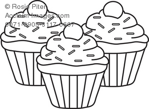 Cupcake Black And White Clipart