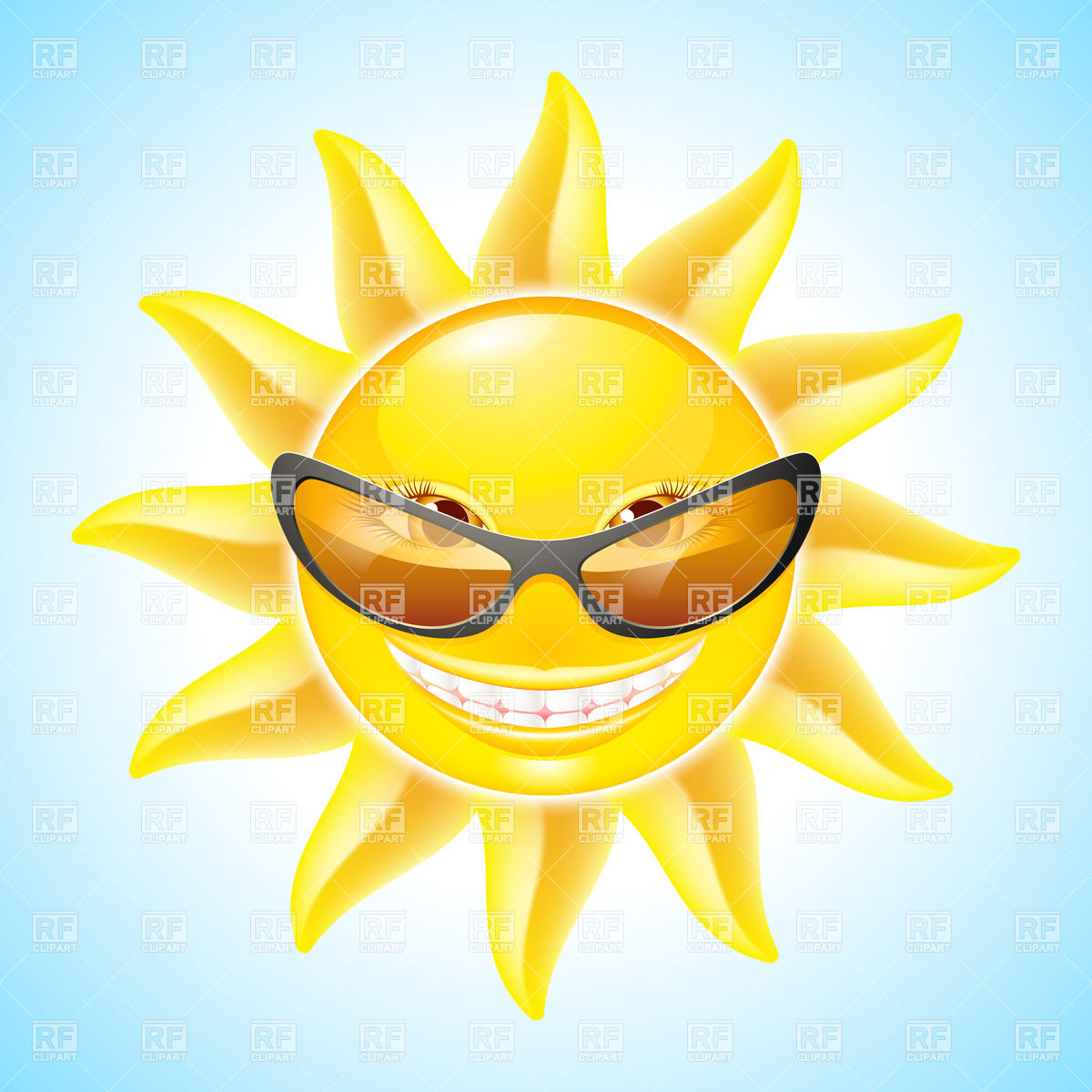 Cute Smiling Sun With Sunglasses Download Royalty Free Vector Clipart