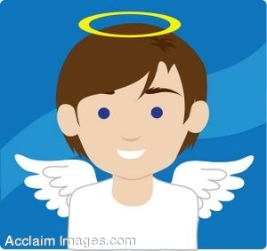 Description  Clip Art Picture Of An Angel Boy With Blue Eyes  Clipart