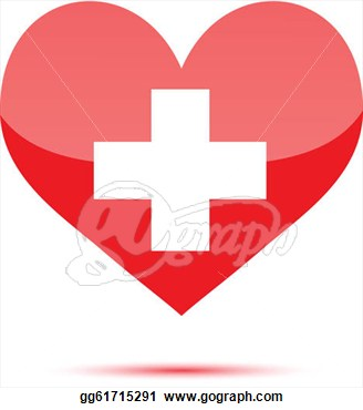Illustration   Red Heart Shape With Medical Cross  Clipart Gg61715291