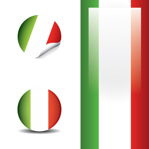 Italian Promotional Vector Set With Buttons Stickers Flyer Design