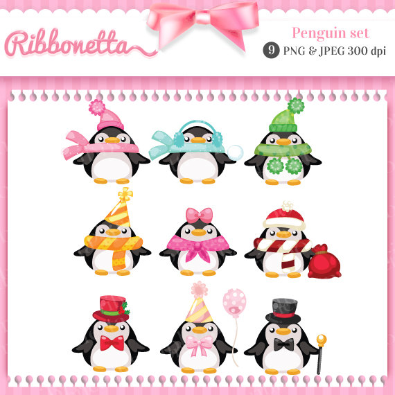 Items Similar To Penguin Christmas Winter Cute Kawaii Store Clipart