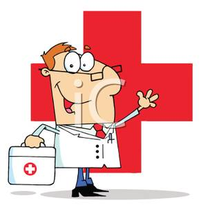 Kit Standing In Front Of A Red Cross   Royalty Free Clipart Picture