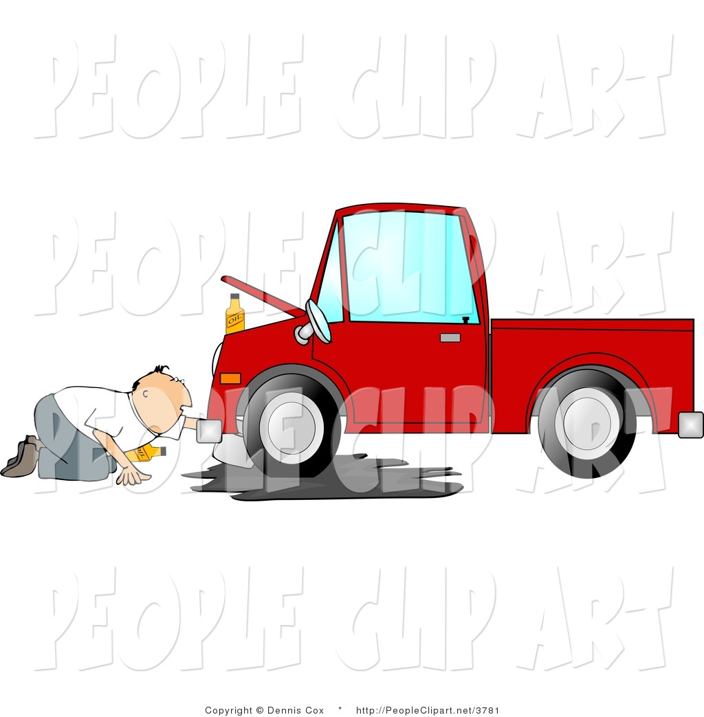 Larger Preview  Clip Art Of A Handy Man Trying To Give A Red Truck An