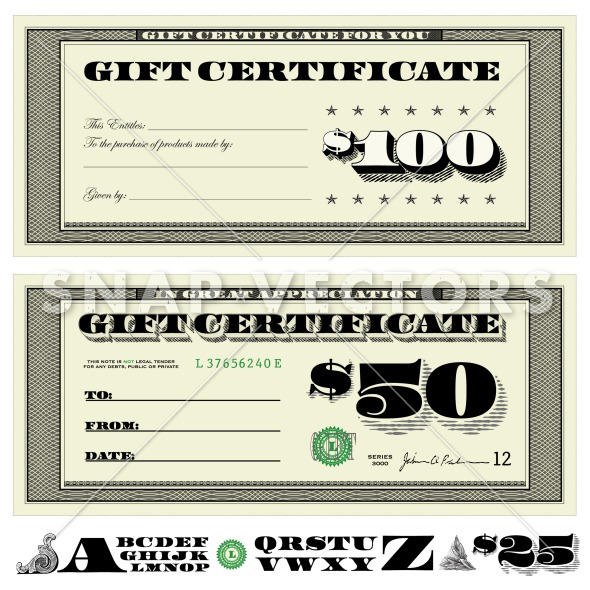 Money Gift Certificate Set Easy To Edit Set Of Money Gift Certificates