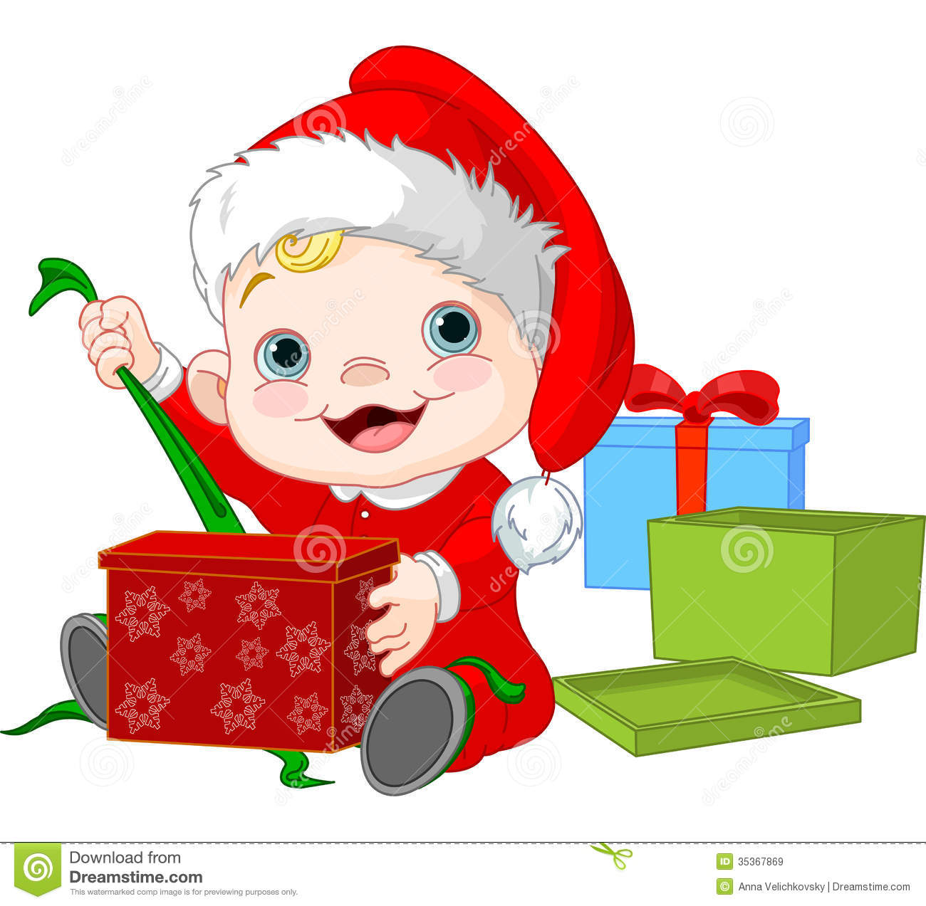 Open Christmas Present Clip Art Cute Baby Open Christmas Gift