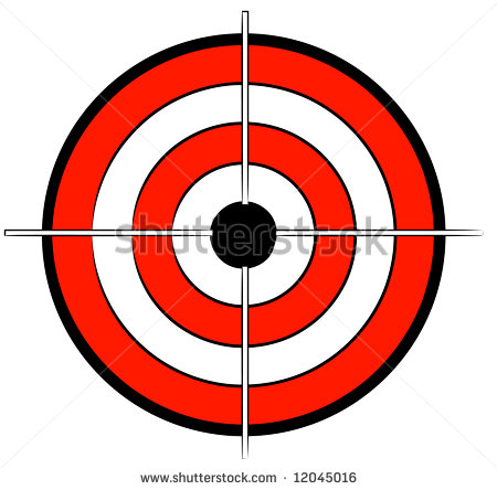 Red White And Black Bullseye Target With Crosshair Vector Clipart