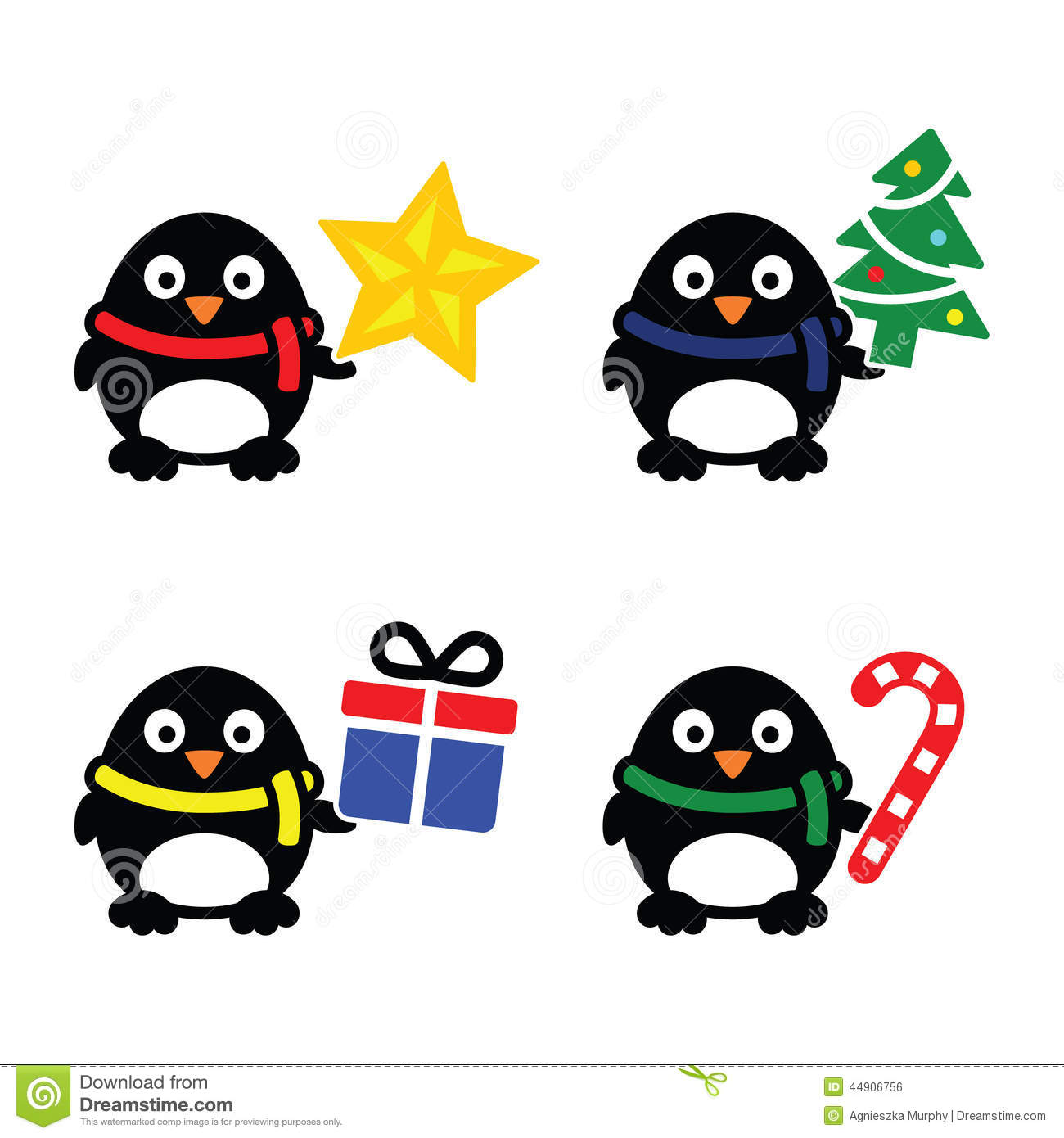 Stock Illustration  Christmas Cute Penguin Icons Set