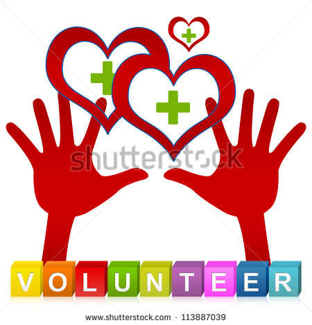 Volunteer Cube Box And Two Hands Holding Red Heart With Green Cross