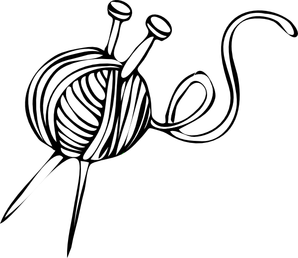 White Yarn Ball With Knitting Needles Clip Art At Clker Com   Vector