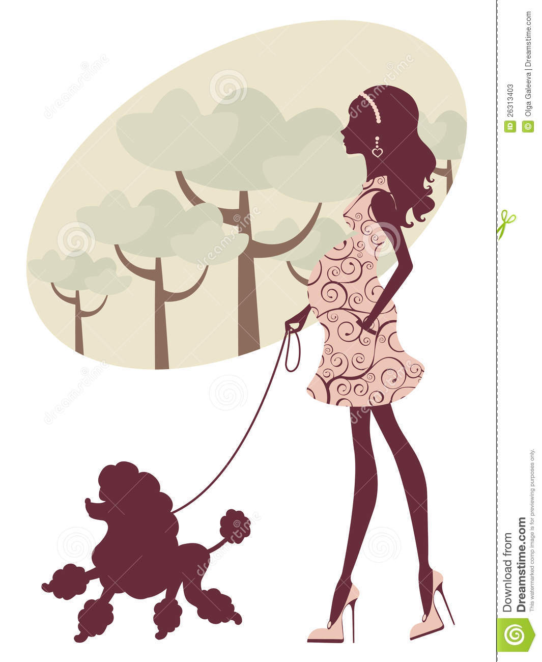 Beautiful Pregnant Lady Walking With Her Poodle Stock Photos   Image