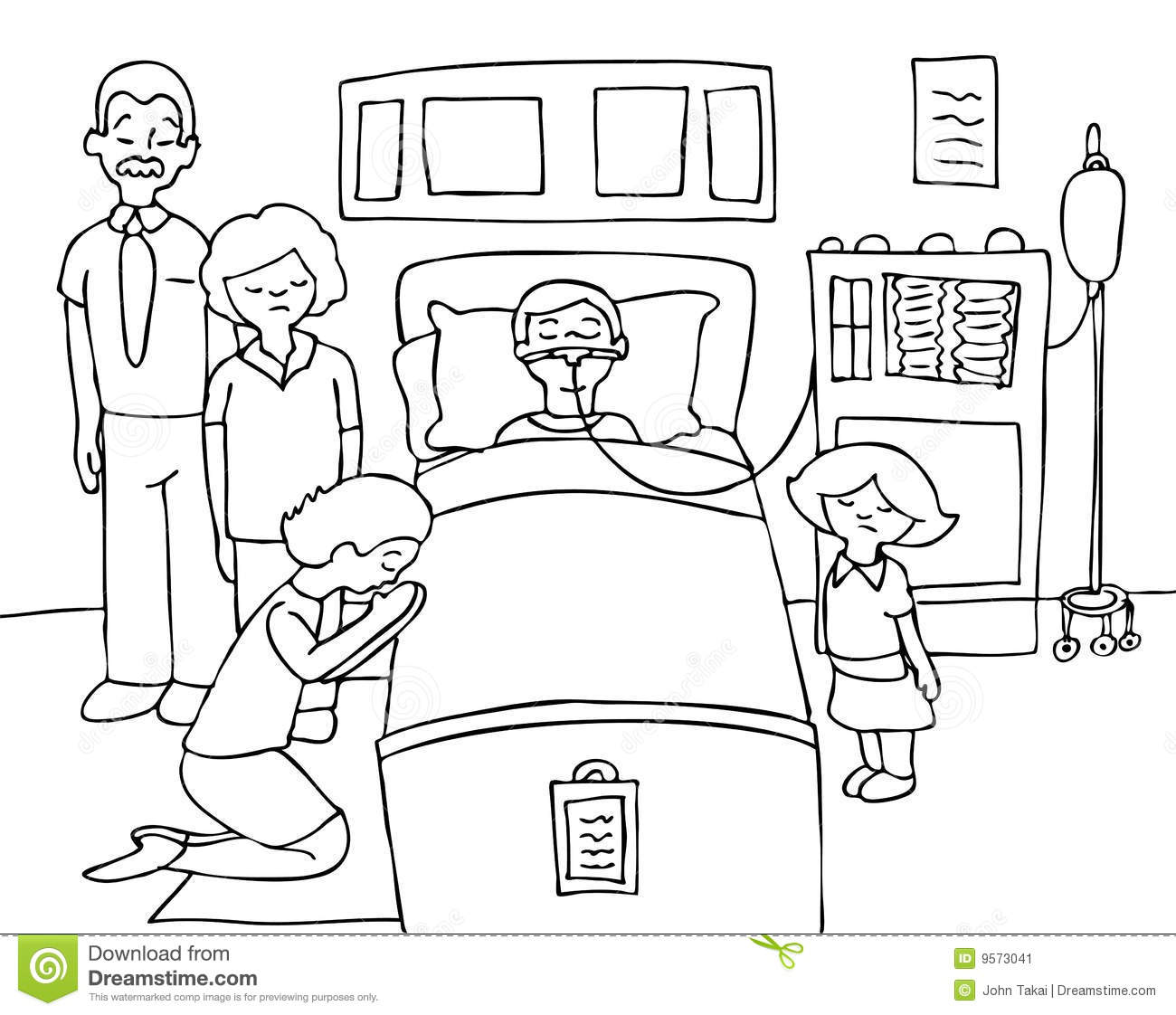 Bed With His Family Praying