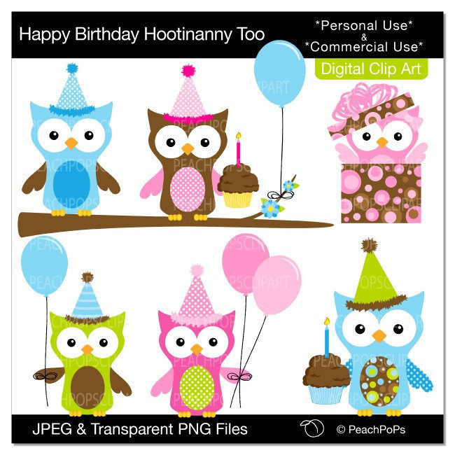 Birthday Owl Clip Art Digital Clipart Animal By Peachpopsclipart