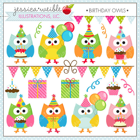 Birthday Owls Cute Digital Clipart For Card Design Scrapbooking And