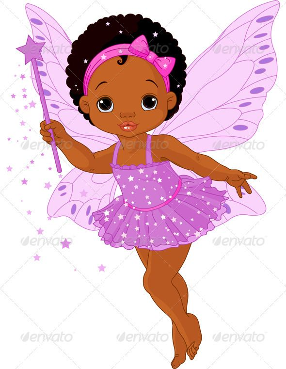 Black Fairies Canvas Art Cartoon Girls Afro Cartoon Baby Fairies