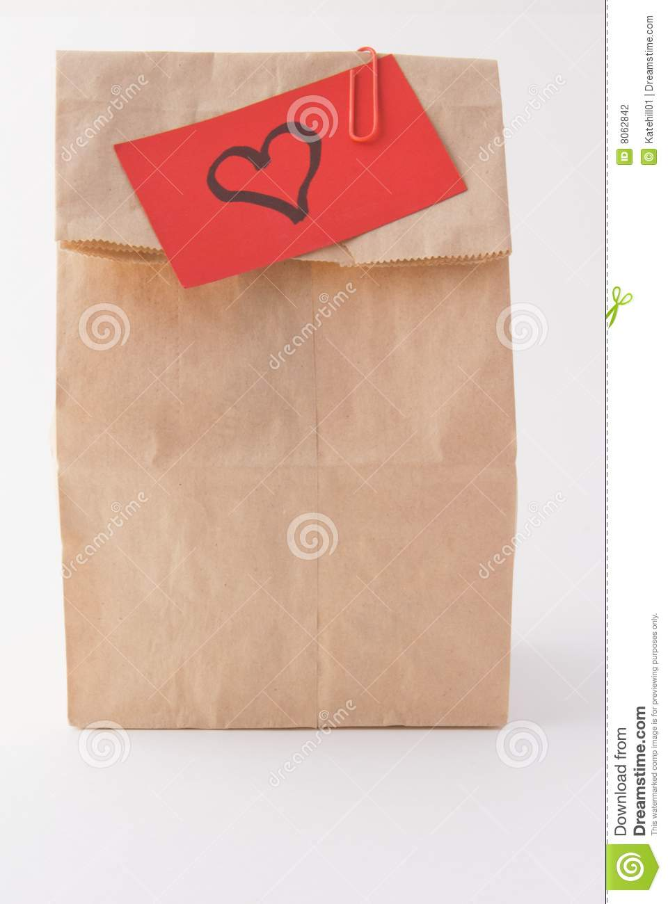 Brown Bag Lunch And Love Stock Photography   Image  8062842