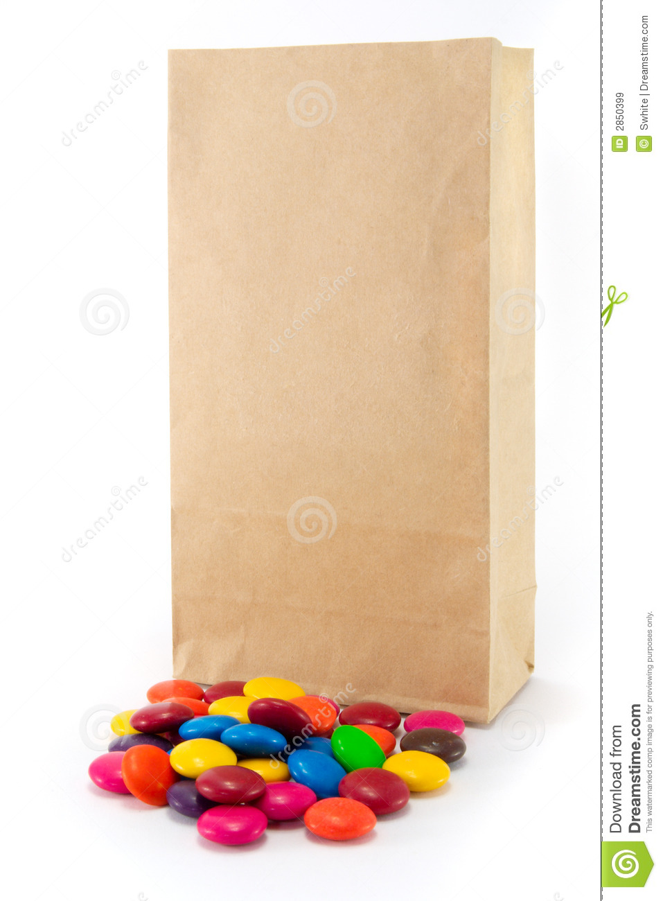 Brown Paper Bag With Lollies Isolated On White Background