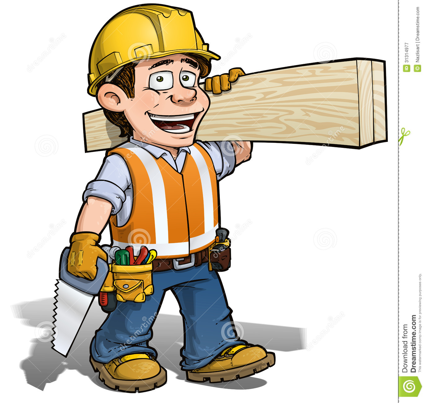 Cartoon Illustration Of A Construction Worker