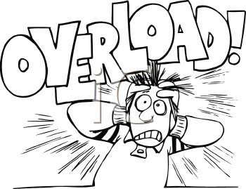 Cartoon Of A Stressed Out Guy With The Word Overload Clipart Image 1