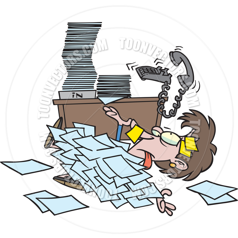 Cartoon Woman Overwhelmed By Paperwork By Ron Leishman   Toon Vectors