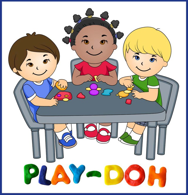 Clip Art Of Kids Playing With Play Doh   Dixie Allan