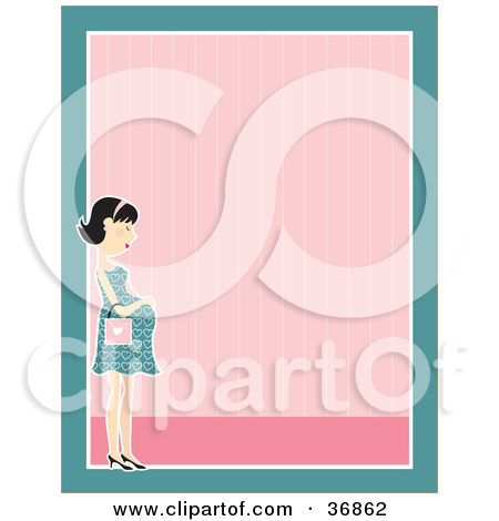 Clipart Illustration Of A Gentle Pregnant Woman In A Dress Caressing