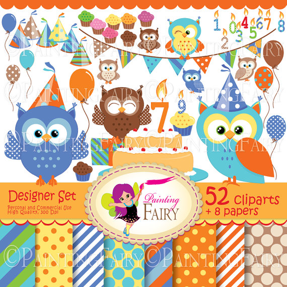 Clipart Set Cute Owl Clip Art Boys Fun Bunting Cupcake Cake Hat Party