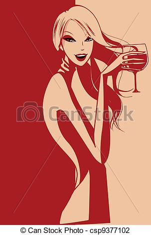 Elegant Vector Of A Lady Drinking Wine Csp9377102   Search Clipart