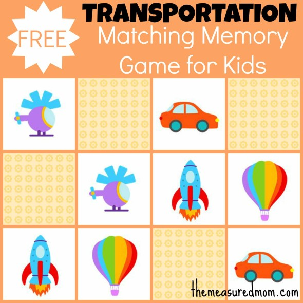 Free Matching Memory Game For Kids  Transportation    The Measured Mom