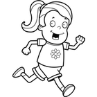 Girl Running  Black And White Line Art  By Cory Thoman   Toon Vectors