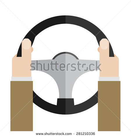 Hands Holding Steering Wheel Vector Illustration In Flat Style