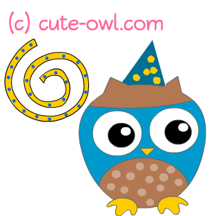 Happy Owl Clip Art With A Party Hat And Decorations Around It