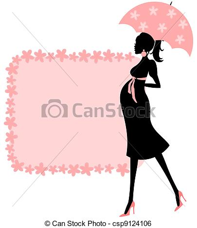 Illustration Of A Young Pregnant Woman And A Cute Floral Frame In Pink