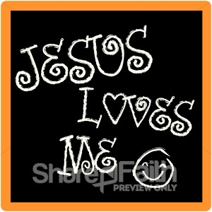 Jesus Loves Me Chalkboard   Sunday School Clipart
