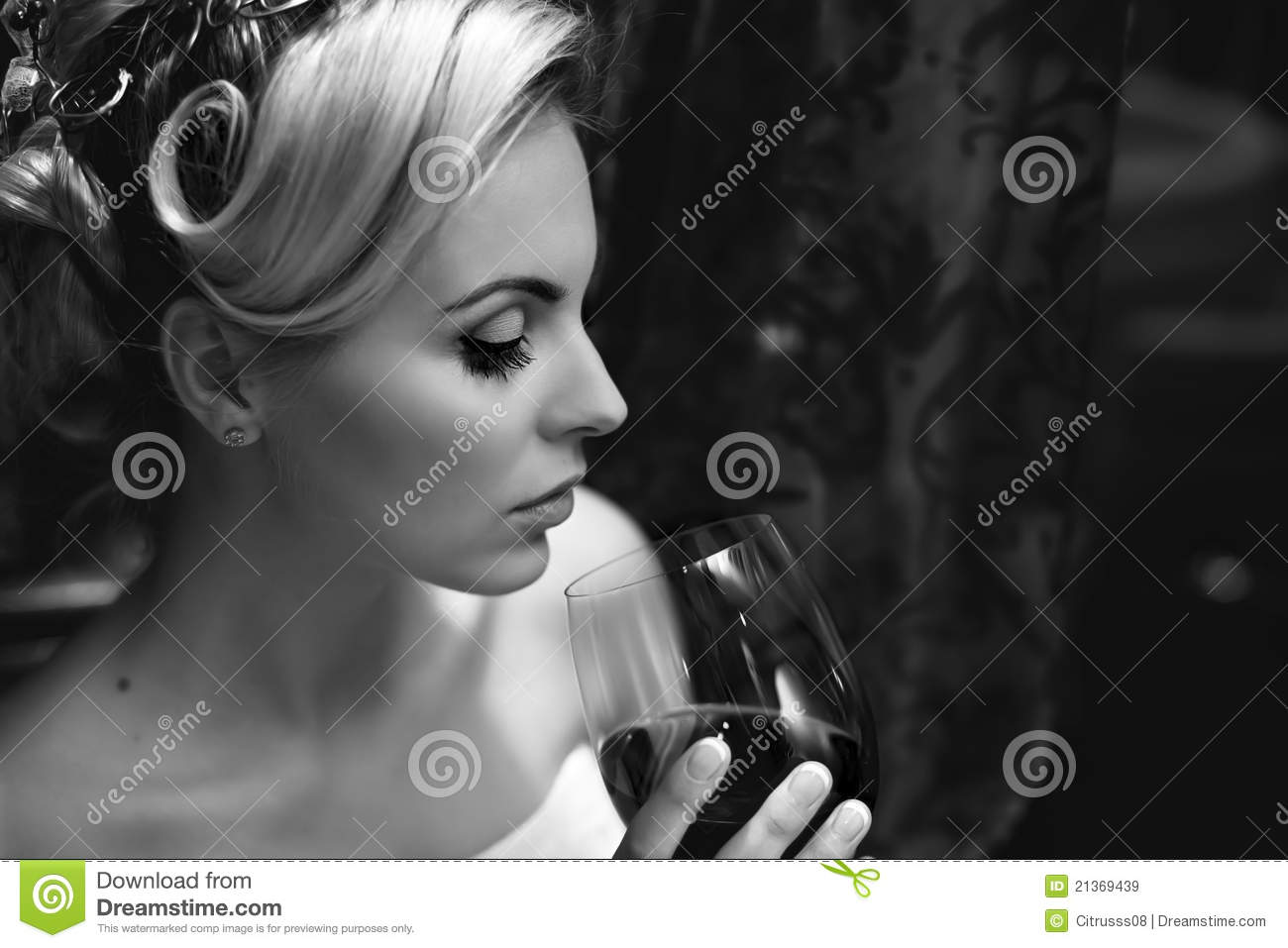 Lady Drinking Wine Royalty Free Stock Images   Image  21369439