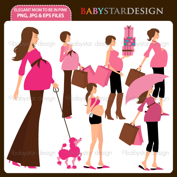 Mom To Be In Pink Pregnant Woman Clipart Elegant Mom To Be Clipart