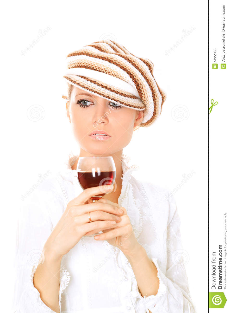 Nice Blonde Holding A Glass Of Red Wine On White Background
