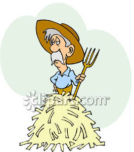 Old Farmer Standing On A Pile Of Hay   Royalty Free Clipart Picture
