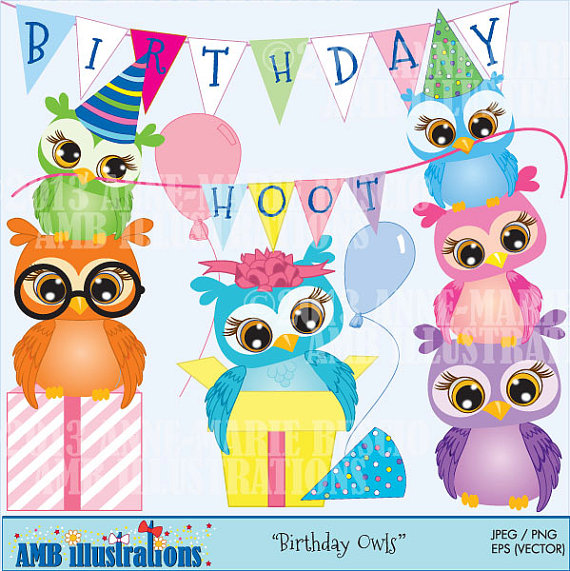Owl Birthday Party Clipart Commercial Use Vector Graphics Digital