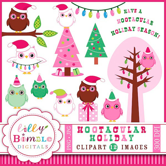 Owl Clipart In Santa Hats Clip Art Instant Download Pink Green