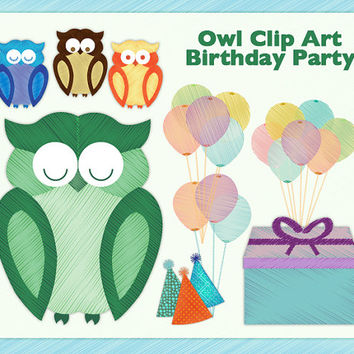 Owls Balloons Party Hats   Present  Clipart For Scrapbook Web Blog
