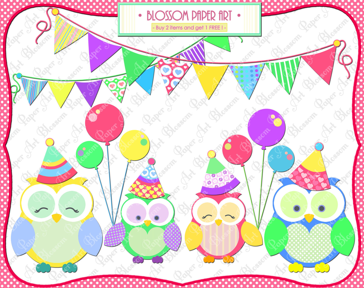 Owls Party Clipart Clip Art Birthday By Blossompaperart On Etsy